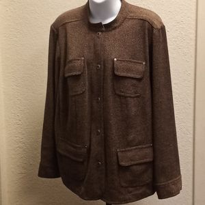 JM Collection Woman Brown Tweed Jacket